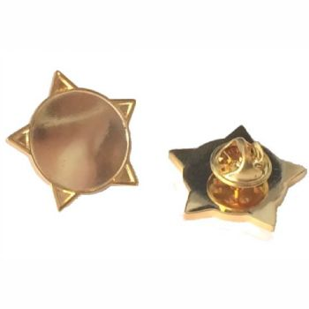 Superior Badge Blank star 18mm gold clutch and clear dome